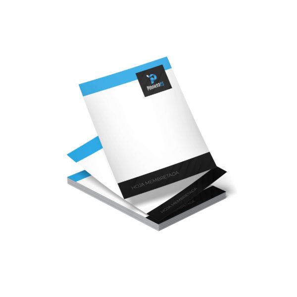 Hojas membretadas a todo color o en blanco y negro en formato A4 y A5