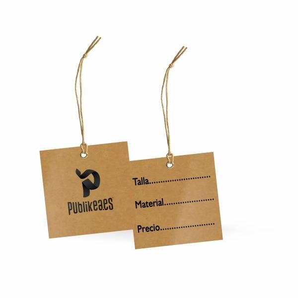 Etiquetas de ropa cuadradas en papel kraft 5x5